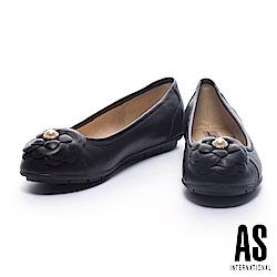 娃娃鞋 AS 優雅迷人珍珠山茶花飾全真皮平底娃娃鞋-黑