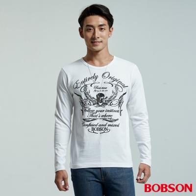 BOBSON  男款圓領骷髏圖騰白色上衣