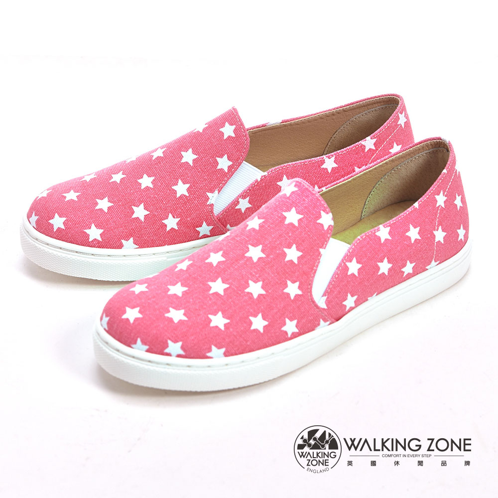 WALKING ZONE 小星星直套內增高鞋-粉
