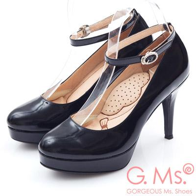 G.Ms. 小資X麻吉-MIT牛皮2way厚底高跟鞋-G款漆皮黑