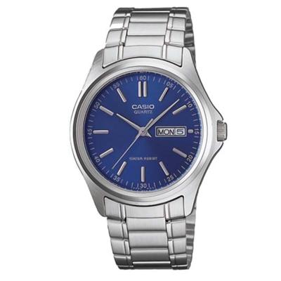 CASIO 經典簡約復古時尚日曆星期腕錶(MTP-1239D-2A)-藍/40mm