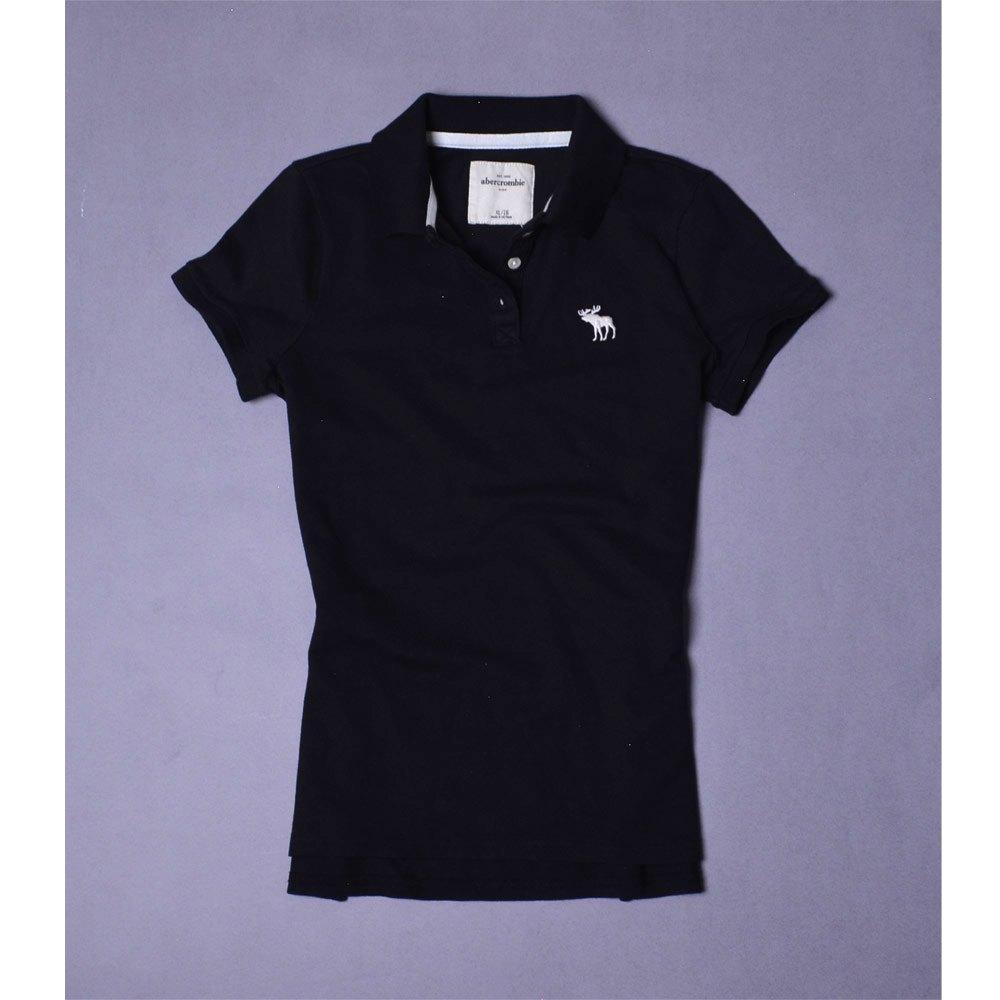 A&F Abercrombie & Fitch 麋鹿刺繡小孩POLO衫-黑