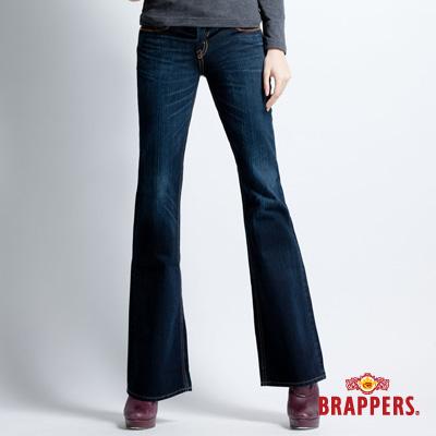 BRAPPERS 女款 垮褲系列-女用小喇叭褲-深藍
