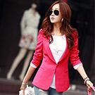 螢光色修身長版西裝外套 (共五色)-N.C21