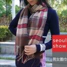 Seoul Show 經典條格紋仿羊絨圍巾11款 咖啡 紅色卡奇線