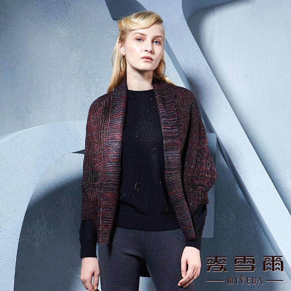 麥雪爾  反摺罩衫羊毛外套-紅