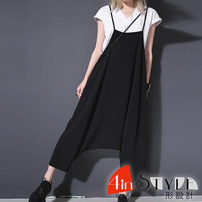 高腰細肩帶寬鬆連身吊帶褲 (黑色)-4inSTYLE形設計