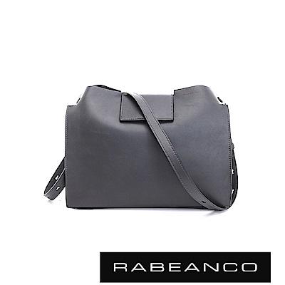 RABEANCO 珠光牛皮完美立體設計肩/斜揹包 暗灰
