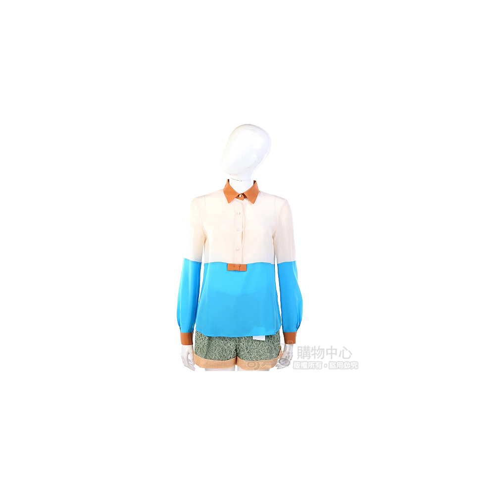 San Andres 撞色拼接設計長袖上衣(米x土耳其藍)