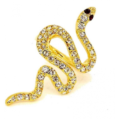 Kenneth Jay Lane 好萊塢巨星最愛 蛇戒指 金色白鑽 紅水晶眼睛  附原廠盒
