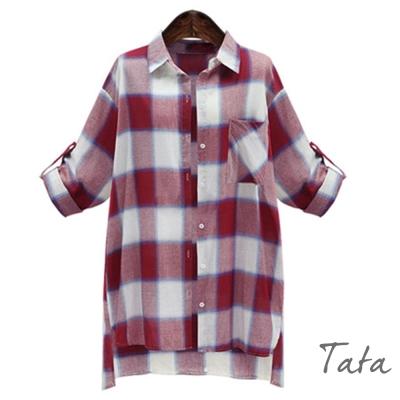 前短後長翻領格子襯衫-共二色-TATA