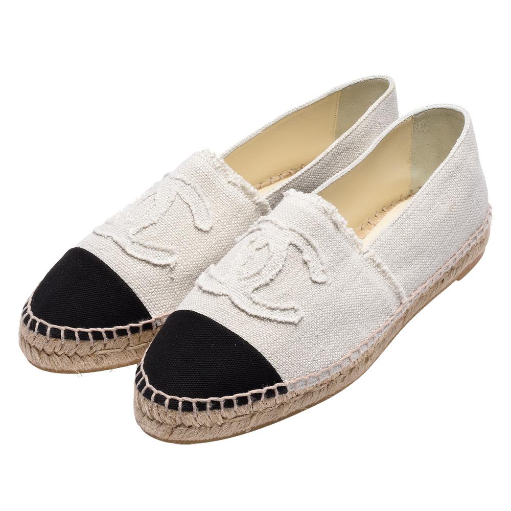 CHANEL 經典Espadrilles小香LOGO單寧厚底鉛筆鞋(米白X黑)