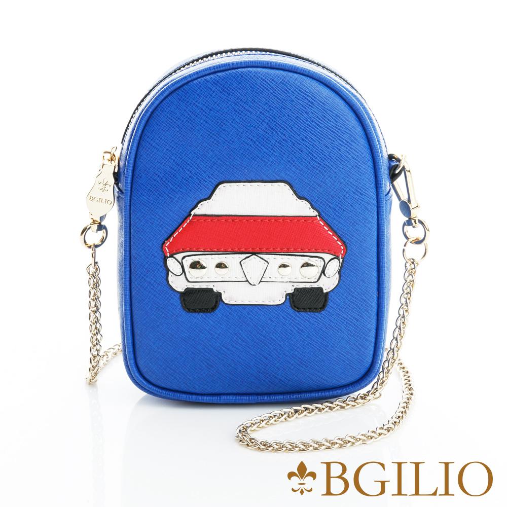 義大利BGilio-摩登牛皮童趣造型小斜背包(汽車)-藍色1966.307-09