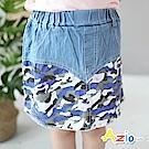 Azio Kids 童裝-短裙 星星迷彩拼接口袋褲裙(藍)