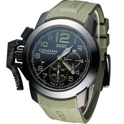 GRAHAM 格林漢 Sahara 左冠計時機械腕錶-黑x軍綠/47mm