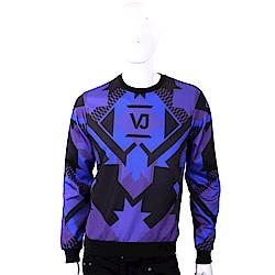 VERSACE 菱格幾何圖騰紫黑色棉質運動衫