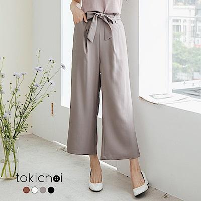 東京著衣 多色優雅美型條紋綁帶長褲-S.M.L(共四色)