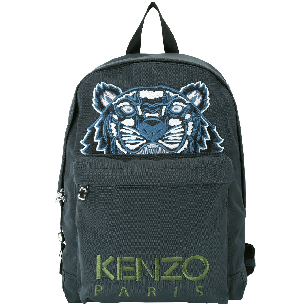 KENZO Tiger Canvas老虎刺繡圖騰帆布後背包藍綠色