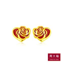 周大福 迪士尼美女與野獸系列 燒青紅玫瑰黃金耳環