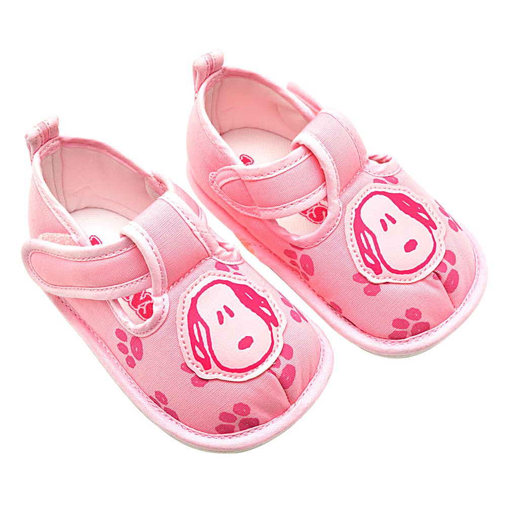 Snoopy史努比 腳印塗鴉輕巧舒適寶寶學步鞋-粉(12.0-14.0)