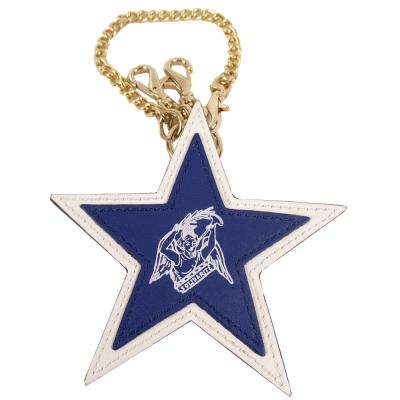 agnes b.星型皮革鑰匙圈(藍)