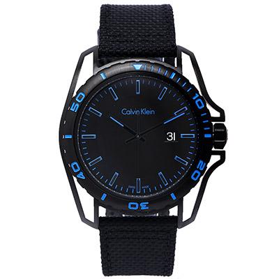 CK Calvin Klein  Earth 撼動世界男性運動型腕錶-黑藍/ 43 mm