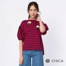 CHICA 俏皮女孩摩登泡泡袖條紋設計上衣(2色)