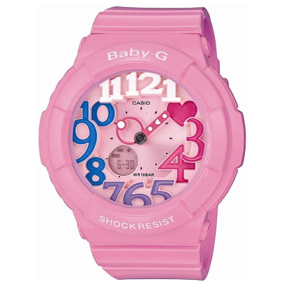 BABY-G 繽紛立體時刻霓虹照明休閒錶(BGA-131-4B3)-粉彩時刻/43.1mm