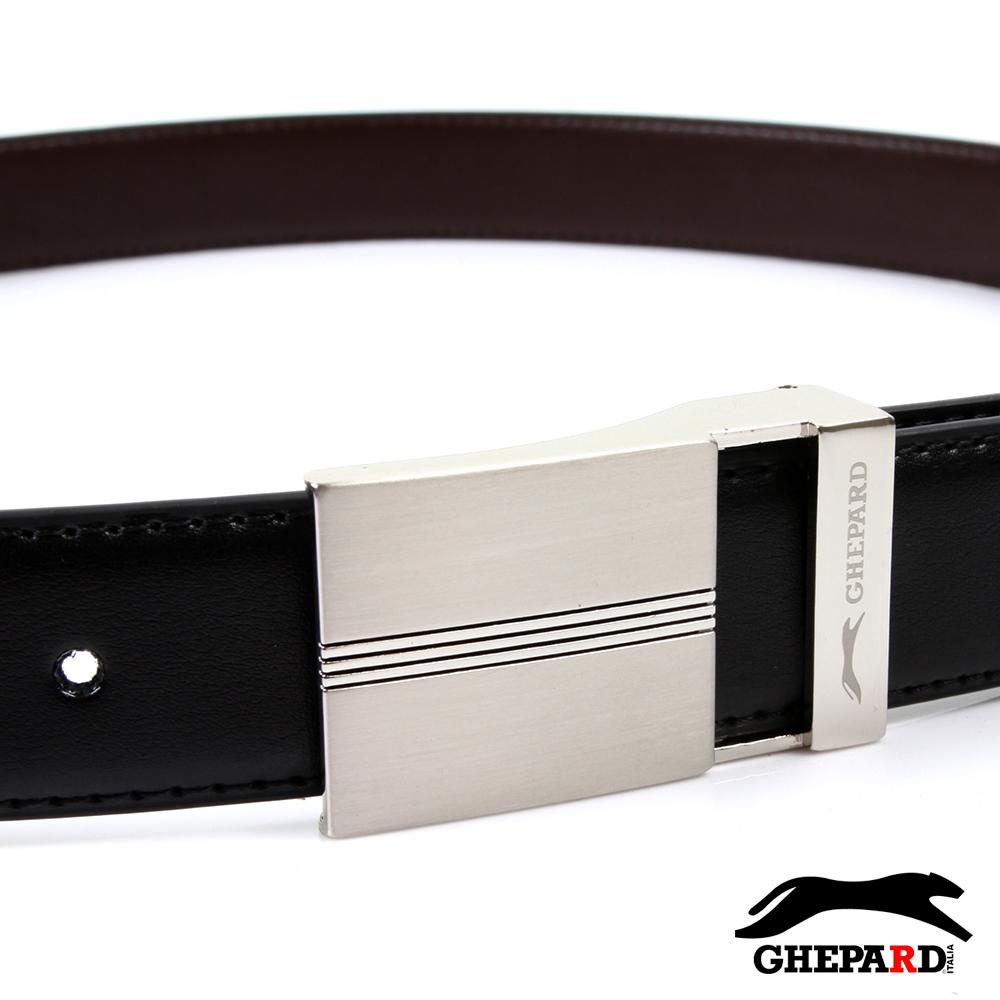 GHEPARD捷豹-長方橫三切紋鏤空頭配二層牛皮點扣皮帶-G430