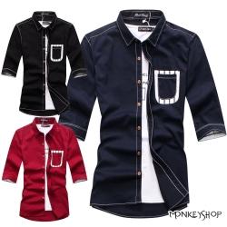 小猴子的賣場 韓版拼接口袋條紋布面七分袖襯衫-2色