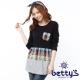 betty's貝蒂思  圓點格紋拼接長版棉麻