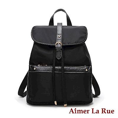 Aimer La Rue 百搭素色牛皮尼龍後背包(黑色)
