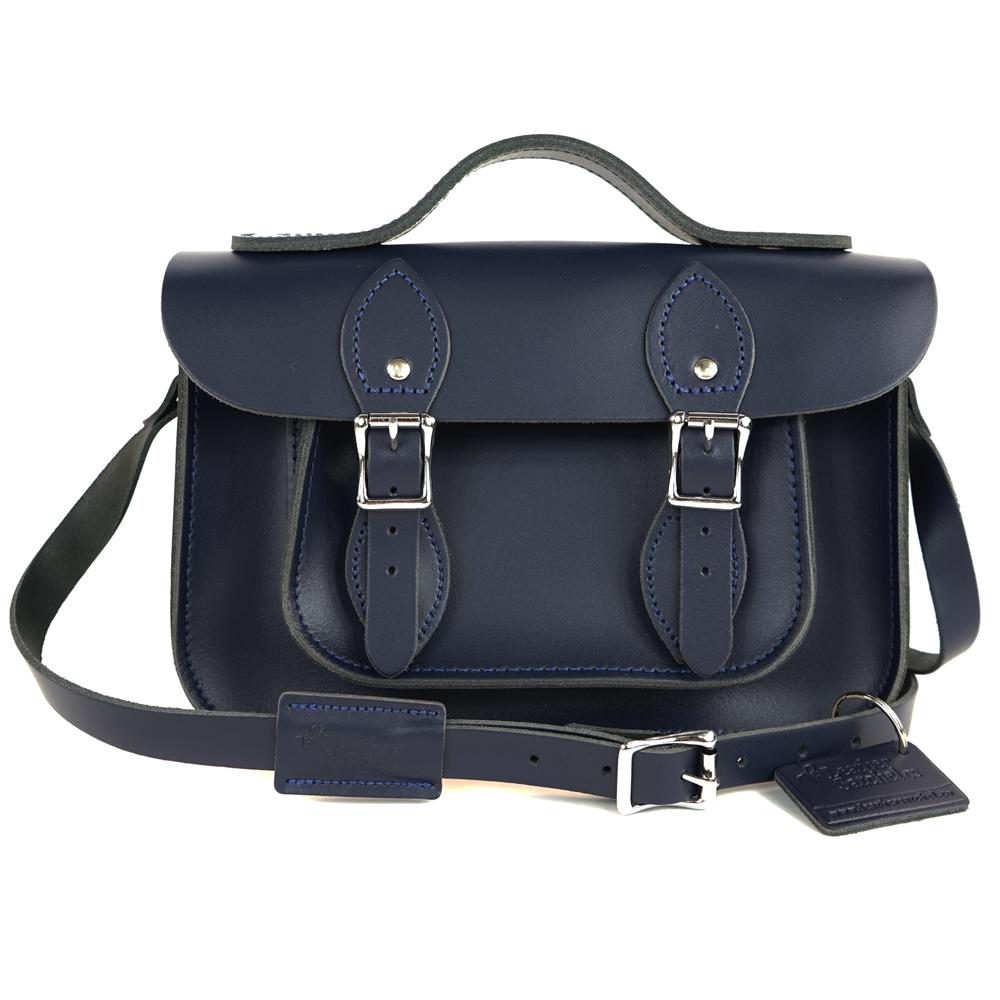 The Leather Satchel 英國手工牛皮劍橋包 肩背手提包 湖泊藍 11吋