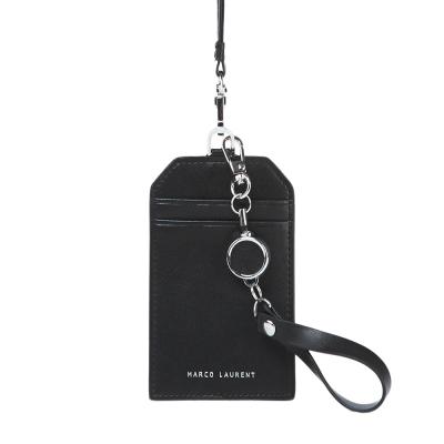 MARCO LAURENT 真皮頸掛證件套 / 伸縮票卡夾雙件組-黑色