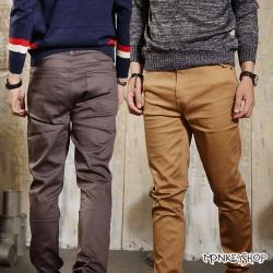 小猴子的賣場 韓版簡約風素面彈性窄版休閒長褲-六色