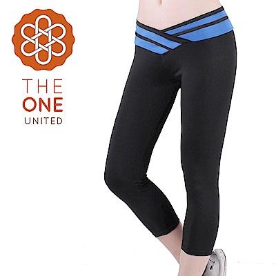 【The One】輕柔彈力造型拚色七分瑜珈褲/運動褲(藍色)