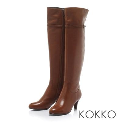 KOKKO心機顯瘦素面百搭側拉鍊高跟長靴