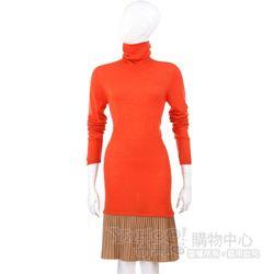 i BLUES 橘/駝色拼接百褶裙高領款洋裝
