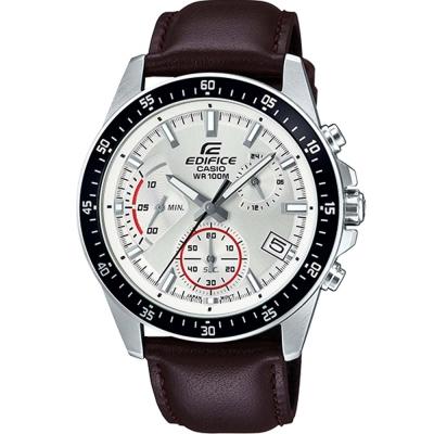 EDIFICE魅力釋放簡約時尚三針三眼指針皮帶錶(EFV-540L-7)白面43.8mm
