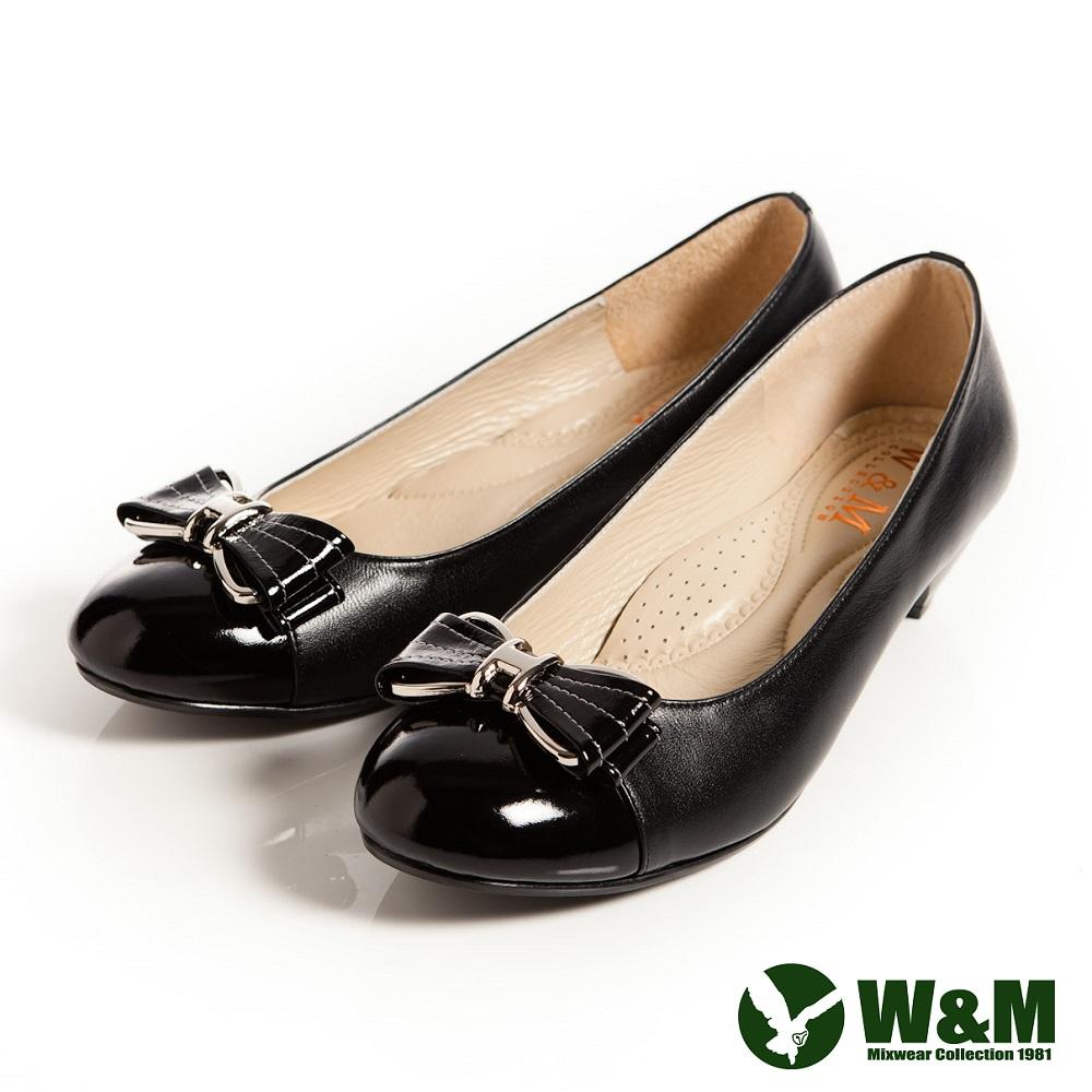 W&M 迷人亮眼金屬框蝴蝶結舒適透氣軟墊低跟淑女鞋-黑