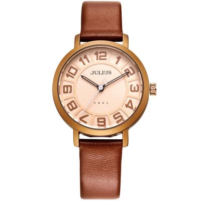 JULIUS聚利時 冒險漫遊時空簡約數字皮帶腕錶-咖啡/32mm