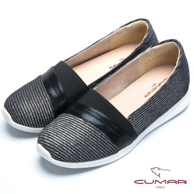 CUMAR經典品味 異材質拼接平底包鞋-黑