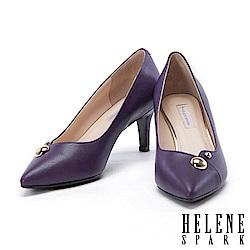 高跟鞋 HELENE SPARK 金屬圓釦羊皮尖頭高跟鞋-紫