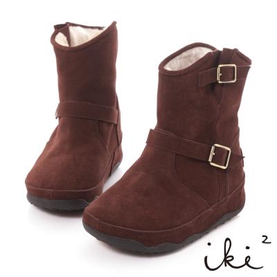 iki2機能雪靴系列-真麂皮環帶五金厚底雪靴-摩咖
