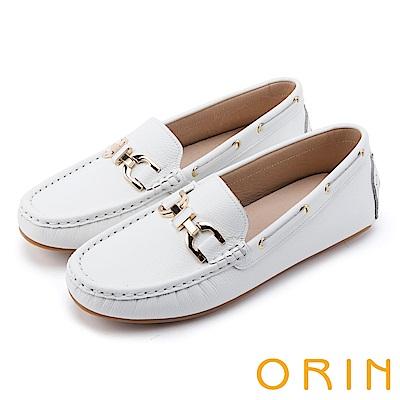 ORIN 復古樂活主義 金屬飾釦牛皮莫卡辛-白色