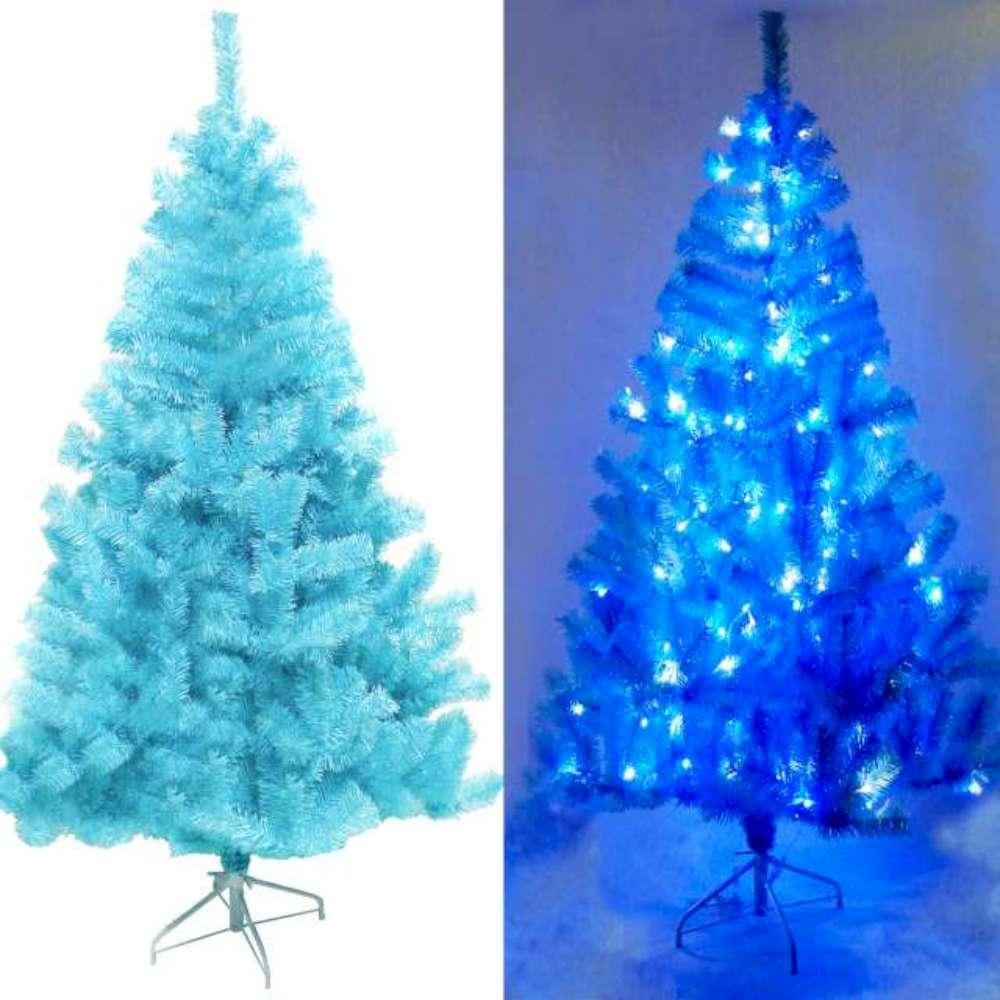台製6尺(180cm)豪華冰藍色聖誕樹(不含飾品)+100燈LED藍白光2串