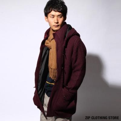 牛角釦羊毛針織外套ZIP日本男裝