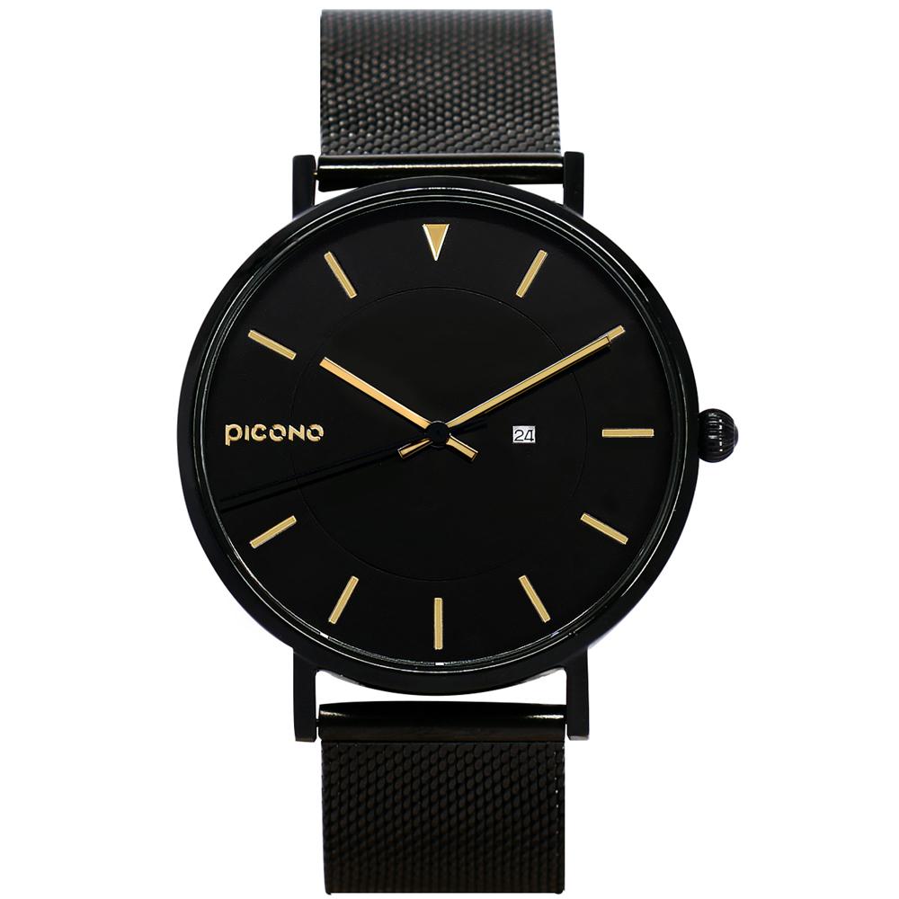 【PICONO】RGB 系列 輕薄黑色快拆式不鏽鋼網帶手錶 / RGB-6502 金色