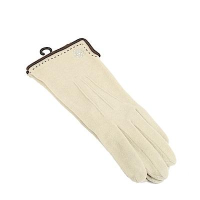 CLATHAS 發熱保暖山茶花LOGO觸控手套(米色)