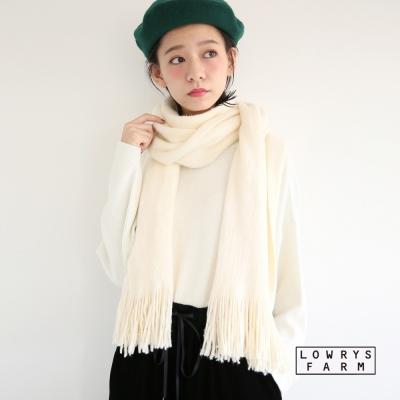 LOWRYS-FARM素面長絨毛質地柔軟圍巾披肩-四色